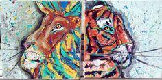 big cat set two paintings lion, tiger, art, painting, home decor, wall art, gifts, house warming, modern, rasta, bob marley, art sets , two piece painting, jungle, Tara richelle