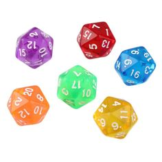 6pcs/Set Games Multi Sides Dice D20 Gaming Dices Game Playing Mixed Color Hot Selling