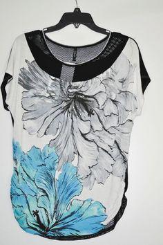 EDISA Norene Side Ruched Dolman Women Tee Floral Jewel Neck Short Sleeve size M #Edisa #Blouse #Casual