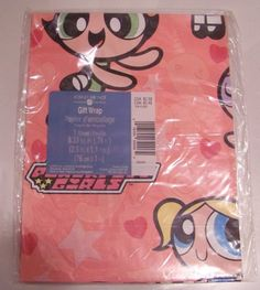 Power Puff gift wrapping paper - 1 sheet - New in pack. AG Forget Me Not