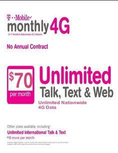 New number.include first month(60$) , Monthly 4G unlimited Talk,Text,web(4G) 60$ plan #T-mobile activation & No-Contract just for 39$you have to buy this 95$ fro...