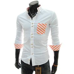 (CE55-ORANGE) Stretchy Slim Fit Stripe Patched Double Button Shirts