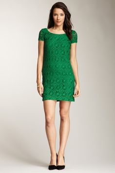 CLUNY by Designer Cynthia Steffe Lace Dress in Emerald Who doesn't love lace?