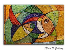 Original Thick Texture Abstract Golden Fish by NataSgallery Large Painting, Texture Painting, Golden Fish, Fish Art, Mosaic Art, Paintings For Sale, Painting Inspiration, Lovers Art, Art Lessons