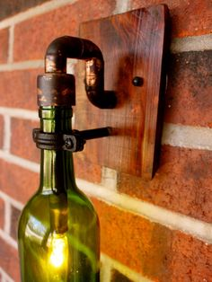 Wine Glass Light Fixture with Transparent and Polished Styles : Red Bricked Interior Wall Added With Diy Mounted Lamp Made From Green Wine Bottle With Bulb
