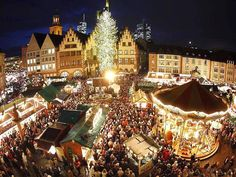 "Weihnachtmarkt ( Christmas Market ) in Frankfurt I have no idea why anyone in the right mind would go out to stores on so-called "" Blac. Merry Christmas, Christmas Vacation, Holiday Travel, Christmas Lights, Christmas Cruises, Christmas Scenery, Christmas Displays, Christmas Town, Xmas Trees"
