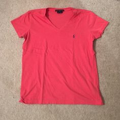 Pink Ralph Lauren Sport V-neck Size small, like-new condition, GREAT COLOR!! Ralph Lauren Tops Tees - Short Sleeve