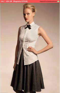 Button ShirtWhite ShirtWhite BlouseSleeveless by brantattire Bow Tie Shirt, Collared Shirt Dress, Sleeveless Blouse, Tie Bow, Business Casual Outfits, Office Outfits, Business Clothes, Collars For Women, Blouses For Women