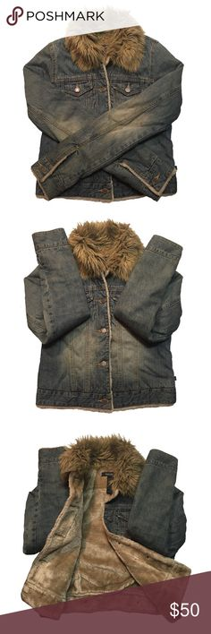 A&F Denim Fur Jacket Abercrombie & Fitch denim jean fur jacket. Warm & cute for the colder days! Excellent quality material that's heavy. Button up. Breast pockets. Body is lined with fur. Sleeves are lined with satin like material. Fur collar is not detachable. Great used condition. Abercrombie & Fitch Jackets & Coats Jean Jackets