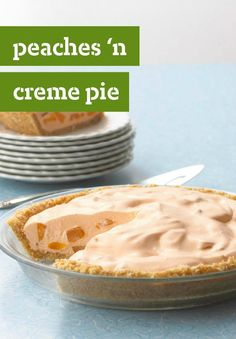Peaches 'N Cream Pie -- This airy chiffon dessert recipe is refreshing and perfect to share with dinner guests.