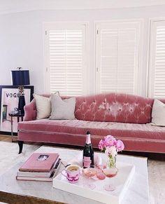 Lovely Velvet Living Room Furniture and Furniture # Velvet Furniture, Living Room Furniture, Living Room Decor, Living Rooms, Pink House Furniture, Bedroom Decor, Couch Furniture, Bedroom Wall, Master Bedroom
