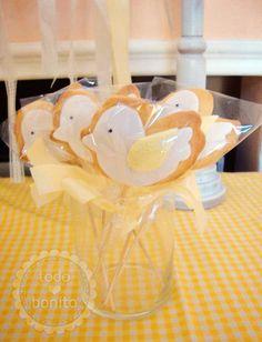 Cookies pop con los pajaritos, qué dulce!