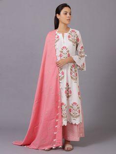 White Pink Floral Printed Chanderi Suit - Set of a Charm to your Wardrobe with the best combination of Suit Sets - Hand Printed & hand embroidered in the perfect cottons & Silks.Suit for Women : Buy Designer & Printed Suit Sets Online Kurti Designs Party Wear, Kurta Designs, Dress Designs, Blouse Designs, Pakistani Dresses, Indian Dresses, Indian Outfits, Indian Anarkali, Indian Designer Outfits