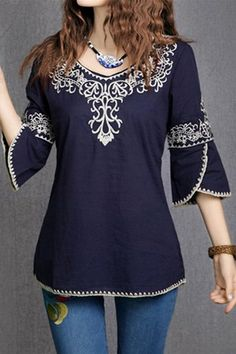2018 New Fashion Women Girls Totem Pattern Vintage Ethnic Blouse Embroidery Cotton Casual Shirts Tops blusa etnica bordada Mexican Shirts, Mexican Blouse, Cotton Blouses, Shirt Blouses, Tunic Shirt, Blouse Ethnique, Embroidered Blouse, Embroidery Dress, Blouse Designs