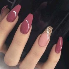 Nageldesign - Nail Art - Nagellack - Nail Polish - Nailart - Nails Katja Wedding List - Why Is It On Pink Nail Designs, Acrylic Nail Designs, Nail Designs With Glitter, Burgundy Nail Designs, Coffin Nails Designs Summer, Popular Nail Designs, Cute Acrylic Nails, Glitter Nails, Pink Glitter