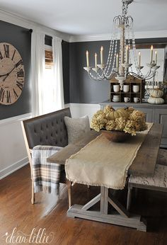 Awesome 70 Gorgeous Modern Farmhouse Dining Room Decor Ideas Https in Brilliant dining room design 2018 - Home Interior Design Farmhouse Dining Room Table, Dining Room Wall Decor, Dining Room Design, Dining Room Furniture, Dining Tables, Dining Room Clock, Dining Sets, Small Dining, Gray Dining Rooms