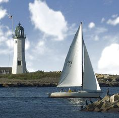 Scituate Lighthouse and harbor.... with a few comorants and a sailboat!  A photo graphic original by Carol Sutherland.