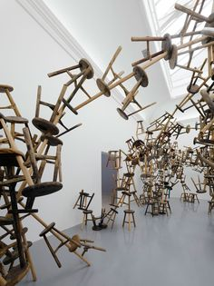 ai weiwei - cool stools I like how the artist managed to get the stools of the ground