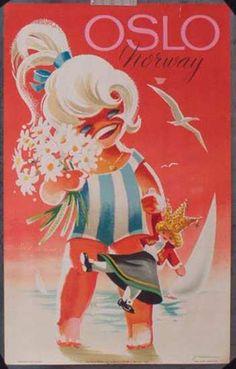 Norway Oslo Kid Original Vintage Travel Poster. Date: 1962
