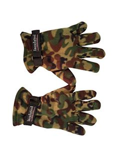 Fleece Camouflage Gloves - Camo is Great for hunting, fishing, hiking and other outdoor activities you can do in the cold weather (Woodland)