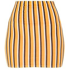 Khaki Jersey Stripe Mini Skirt (49 RON) ❤ liked on Polyvore featuring skirts, mini skirts, yellow jersey, orange skirts, jersey skirt, striped mini skirt and yellow skirts