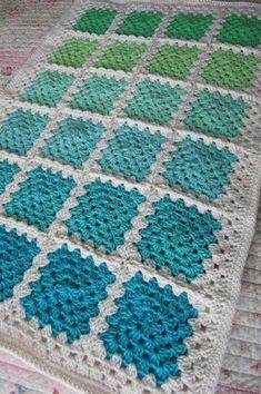 Crochet Granny Square Baby Afghan Blanket - Aquaholic - Aquas and Greens on White: