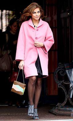 loving eva mendes's pink coat!