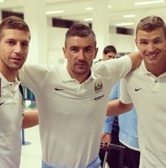 Matija Nastasic, Aleksander Kolarov, and Edin Dzeko MCFCs Balkan Boys