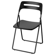 IKEA - NISSE, Folding chair, black, You sit comfortably thanks to the chair's shaped back and seat. You can hang the chair on a hook on the wall to save space. You can fold the chair, so it takes less space when you're not using it. Ikea Folding Chairs, Fold Up Chairs, Norden Gateleg Table, Eames Chairs, Bar Chairs, Room Chairs, Kallax Shelf Unit, Foldable Chairs