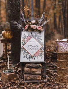 Boho Wedding in the Woods signage