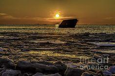 Frozen Sunset At Cape May Nj by Nick Zelinsky
