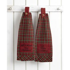 Tartan Holiday Button Loop Hanging Kitchen Towels (Set of 2)