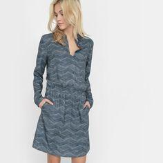 R studio Printed Dress with Shirt Collar