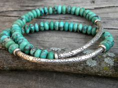 # Braids with beads sterling silver Gemstone Bead Bracelet Elastic Stacking Sterling Silver Natural Nevada Turquoise Focal Bead Turquoise Jewelry, Turquoise Bracelet, Turquoise Gemstone, Bracelet Set, Bracelet Making, Argent Sterling, Sterling Silver, Beaded Jewelry, Beaded Bracelets