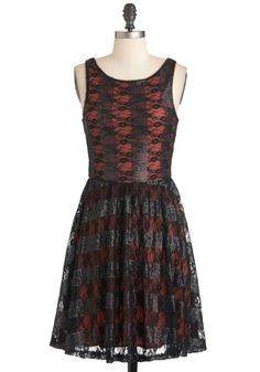 Framboise Fancy Dress - Black, Red, Lace, Sequins, Party, Film Noir, A-line, Sleeveless, Fall, Cocktail, Mid-length
