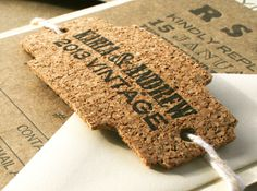 Letterpressed and Die Cut Cork Tag for Wedding Invitations or to Wrap Around a Wine Bottle for Decor. www.sofiainvitations.etsy.com