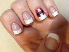 christmas gel nails... I like the simple detail combined with the French tip...
