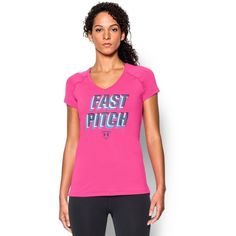 Under Armour Women's UA Softball Graphic Short Sleeve ($33) ❤ liked on Polyvore featuring activewear, activewear tops, rebel pink, under armour sportswear and under armour