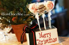 Chocolate covered Oreo pops as a Christmas treat.