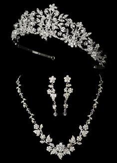 Majestic Crystal Wedding Tiara and Matching Jewelry Set Majestic Crystal and Pearl Wedding Tiara and Matching Jewelry Set - Affordable Elegance Bridal - Cute Jewelry, Hair Jewelry, Body Jewelry, Jewelry Ideas, Jewelry Gifts, Jewelry Necklaces, Wedding Jewelry Sets, Bridal Jewellery, Silver Jewellery