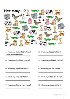 How many. worksheet - Free ESL printable worksheets made by teachers Learn English For Free, English Speaking Skills, Learning English For Kids, English Lessons For Kids, Learn English Grammar, English Writing, Education English, Bilingual Education, English Worksheets For Kids