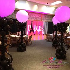 Arches, Centerpieces, Columns, Backdrops, Sculptures and more. We use Balloons to decorate some of the best parties while maximizing any budget. Paris Birthday Cakes, Paris Themed Birthday Party, 13th Birthday Parties, Birthday Party Themes, Birthday Ideas, Paris Prom Theme, Paris Party, Engagement Party Decorations, Balloon Decorations