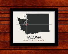 Tacoma Latitude Longitude Map Art
