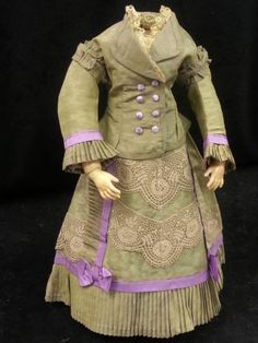 "Antique Dress 2 Piece Skirt Jacket for French Bisque Fashion Doll 21"" 22"" 23"""