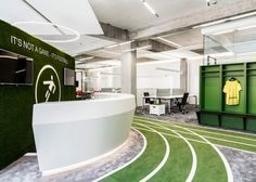 Onefootball in Berlin is a sports-themed office space with its own indoor running track