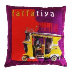 Yellow Taxi Cushion Cover with Border