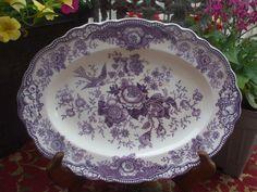 Vintage 1930's Purple Toile Platter English Transferware Platter Birds Roses #nancysdailydish