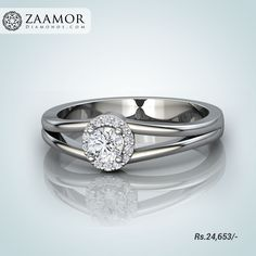 Marcelo Diamond Studded 4 Prong Solitaire Ring