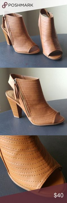 """Peep toe booties Gorgeous. A perfect spring and summer closet staple. A pretty tan / camel color. TTS. 4"""" heel. Side zip for easy off and on. Vegan leather.  Coming soon in black! Shoes Ankle Boots & Booties"""