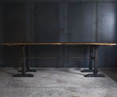 Industrial Wood Table with Antique Pipe